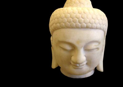 Buddhakopf, weisser Marmor
