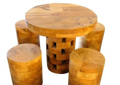 Spieltisch mit Hocker, Teak