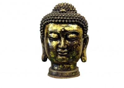 Buddhakopf, Eisen vergoldet