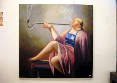 Dame mit Opiumpfeife