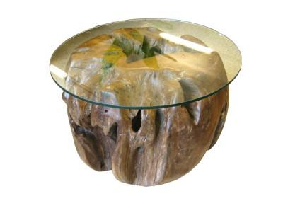 Wurzel-Tisch mit Glasplatte