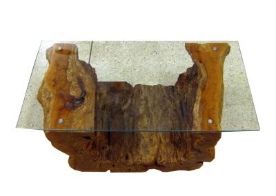 Naturtisch Lychee mit Glasplatte