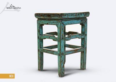 Antiker Hocker, blau lackiert
