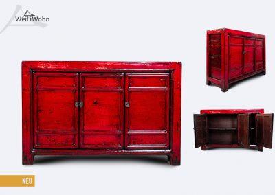 Kommode antik, rot lackiert