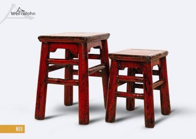 Antike Hocker, rot lackiert